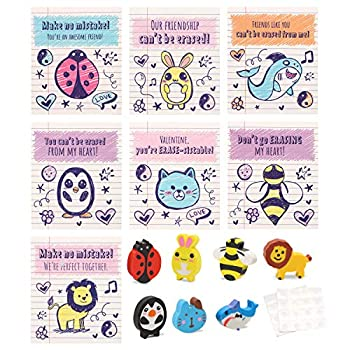 28 Pack Valentines Cards with Animal Erasers in 7 Designs for Kids Valentine Party Favor Classroom Exchange Prizes Valentines Exchange Gifts Valentine's Day Greeting Cards
