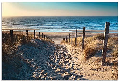 Artland Wandbild Alu für Innen & Outdoor Metall Bild 30x20 cm Landschaften Strand Meer Fotografie Creme Weg zum Nordseestrand Sonnenuntergang T9IP