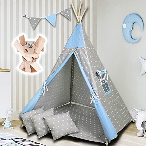 PALULLI Tipi Spielzelt für Kinder mit Matte & Anti-Kollaps-System & 4 Dekokissen Baumwolle- Segeltuch Kinderzelt (Stars Blue)