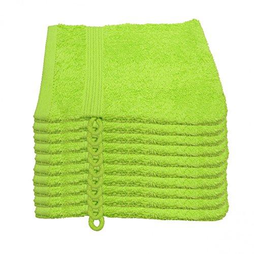 Julie Julsen 10er Pack Waschlappen 29 Farben erhältlich weich und saugstark 500gsm Öko Tex Apfelgrün 15 x 21 cm B-Ware