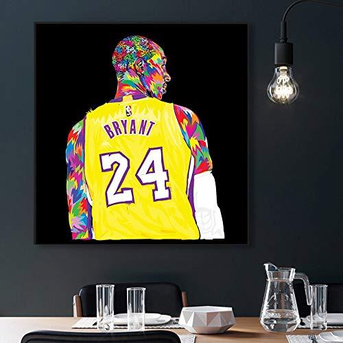 UIOLK Impresión en Lienzo de Kobe Bryant póster n. ° 24 póster de Estrella de Baloncesto Pintura de Pared Ideal para decoración del hogar Regalos de Arte de Pared