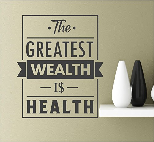 Southern Sticker Company The Greatest Wealth is Health 22x18.5 Vinyl Wall Art Inspirational Quotes Decal Sticke