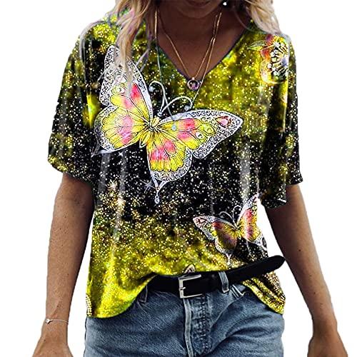 Jersey Informal De Primavera Y Verano para Mujer, con Cuello En V, Estampado De Mariposa, Camiseta Suelta De Manga Corta, Top para Mujer