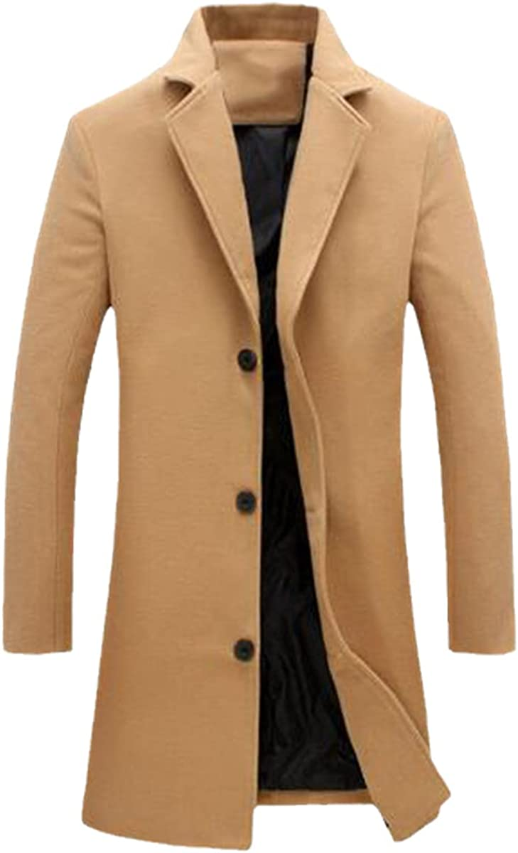 Men's Wool-Blend Coat, Winter Long Coat, Blended Solid Color Coat, Men's Single-Breasted Trench Coat