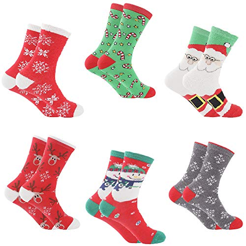 Women Christmas Socks - Santa 6 Pack with Colorful Funny Holiday Xmas Designs - Women
