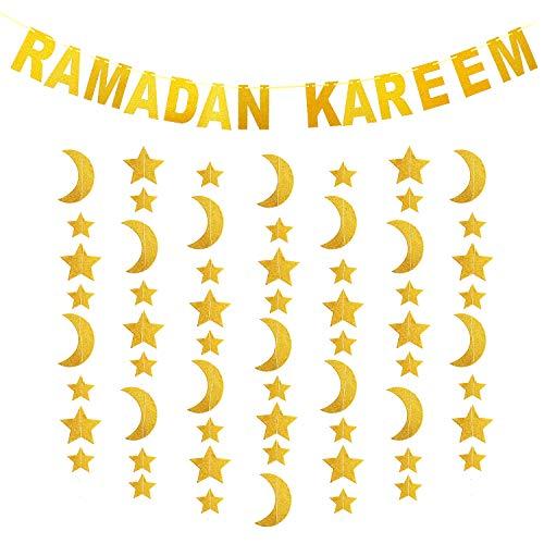 Syhood Gold Glitzer Ramadan Dekorationsset, inklusive Ramadan Kareem Banner und Mond Sterne Form hängende Girlande für Zuhause Party Eid Mubarak Dekorationen Zubehör