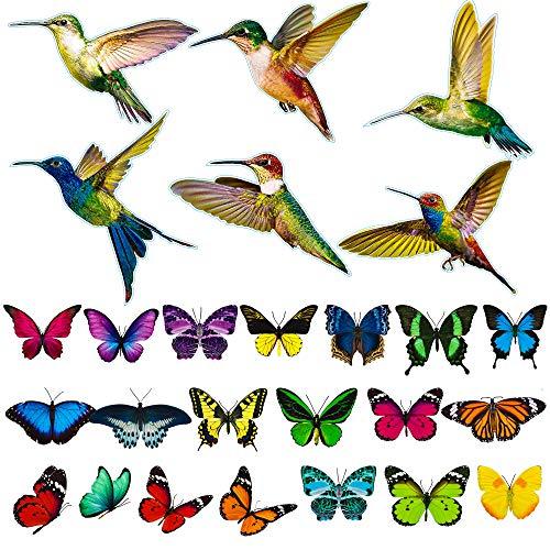 SGBETTER 32 pegatinas de vinilo para ventana de puerta de cristal, diseño de colibrí, mariposas, alerta estática, anticolisión, pegatinas de vinilo de doble cara para puerta de cristal