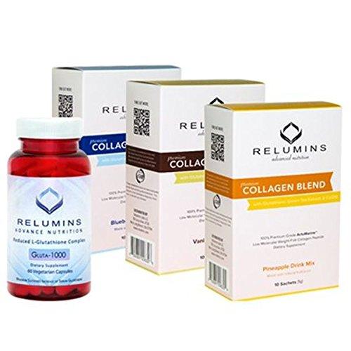 NEW! Relumins Premium Collagen and Glutathione (60 Capsules). Feel Good - Look Good Set!!! (Pineapple)