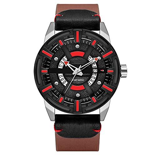 WNGJ Reloj Deportivo, Personalidad Impermeable de Cuero Big Dial Calendario Reloj de Cuarzo para Hombre, Aspecto Negro, Mejor Regalo, Reloj Luminoso Red