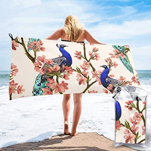 Beach Towels Pavo real Toalla ligera de secado rápido Toalla súper absorbente sin arena para viajes, natación, gimnasio, yoga 140X70CM