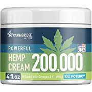 Hemp Cream for Pain Relief - American Hemp Extract 200,000 - Made in USA - Natural Treatment with Emu Oil, Arnica, MSM & Menthol for Muscle, Joint, Sciatica & Back Pain - Omega 3-6-9 Infused - 4 oz