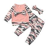 Kobay Neugeborenen Kleinkind Baby Mädchen Jungen Camouflage Bogen Tops Hosen Outfits Set Kleidung (Rosa, 70/6 Monat)