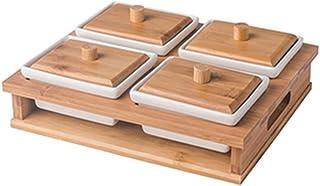 صينية وجبات خفيفة مع غطاء صحن تقديم فواكه جافة صواني تقديم مقسمة أطباق تقديم