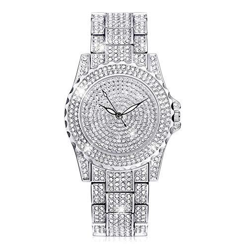 Ladies Dress Watch Luxury Quartz Small Face Diamond Shining Bling Watches Silver Analog Watch for Women Waterproof Gifts for Women