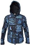 Little Kathmandu Men's Blue Ribs Razor Cut Hippie Goth Pixie Hood Jacket Winter X-Large