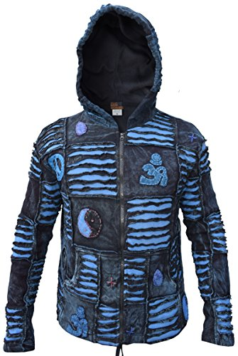 Little Kathmandu Herren Blau Baumwolle Goth Ripped Lange Haube Jacke Summer X-Large