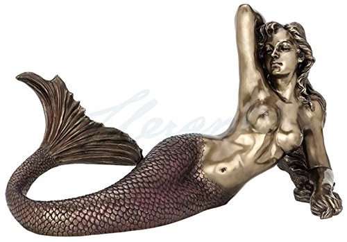 Large Nude Mermaid Lying Back Sculpture Nautical Decor