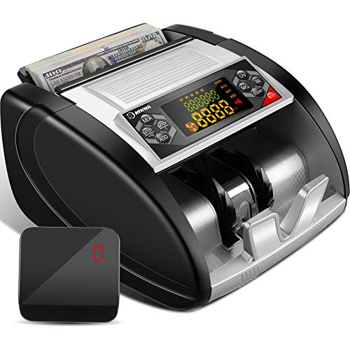 Money Counter Machine with Counterfeit Bill Detector(UV/MG/IR), Portable Bill Counting Machine with LED External Display, Hidden Handle, 6 Modes, Fast Count