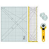 WORKLION Rotary Cutting Mat Set:45mm Rotary Cutter & 2 Replacement Rolling Blades