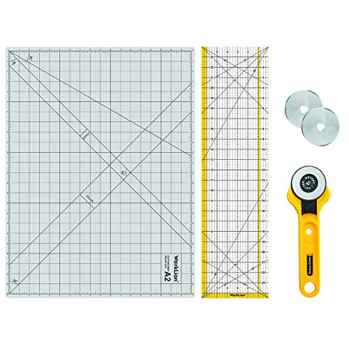 "WORKLION Rotary Cutting Mat Set:45mm Rotary Cutter & 2 Replacement Rolling Blades & 18""x 24"" inch Self-Healing Cutting Mat & 6.5""x 24.5"" inch Clear Acrylic Ruler for Quilting&Sewing and Craft Projects"
