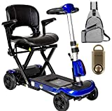 ZooMe Auto-Flex Folding Travel Scooter, Blue & Free 130 dB Gold Safety Alarm! + Medical Utility Bag Grey!