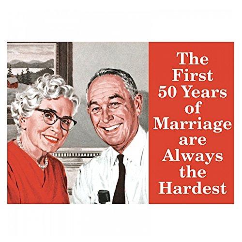Pritties Accessories Retro Humour Les 50 Premières Années de Mariage Aimant de Réfrigérateur en Métal Humoristique