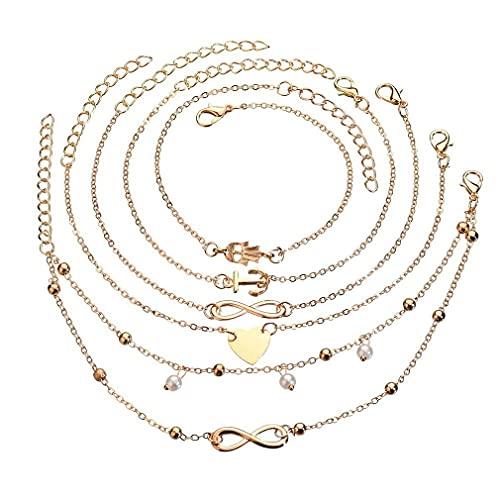 SeniorMar-UK 5 unids/Set de Lujo corazón Ancla Perla Infinito aleación pie Cadena Mujer Moda Tobillera Pulsera Conjunto de Joyas Regalos Oro