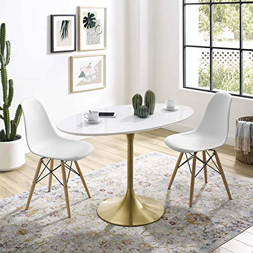 """Modway Lippa 48"""" Oval-Shaped Mid-Century Modern Dining Table with White Wood Top and Gold Base"""