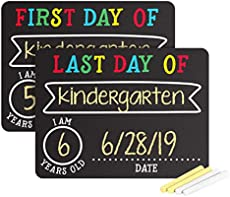 Pearhead First and Last Day of School Photo Sharing Chalkboard Signs; The Perfect Back to School Chalkboard Sign to Commemorate The First Day of School (72010)