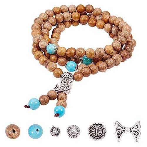 SUNNYCLUE 1 Bag DIY 108 8mm Natural Wood Mala Beads Buddhist Buddha Meditation Rosary Prayer Beaded Bracelet Link Wrist Necklace Making Kit for Men Women, Elastic, Burlywood