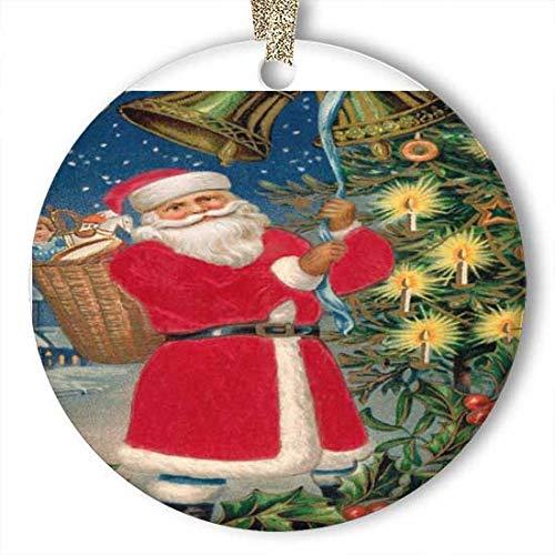 EaYanery Feliz Navidad Papá Noel Anillos Bells Village Ornamento (redondo) de cerámica personalizada para Navidad