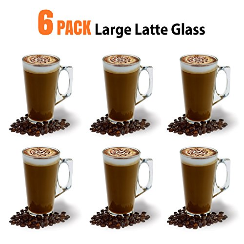 Große Latte Glas Kaffeetassen-385 ml (13 oz) -Gift-Box mit 6 Latte Gläser-kompatibel mit Tassimo Maschine (6 Pack)