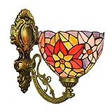 Lámpara de pared de 8 pulgadas del estilo de Tiffany, la margarita del vitral lámpara de pared, pared del accesorio ligero para el dormitorio Sala de estar Sala de Estudio