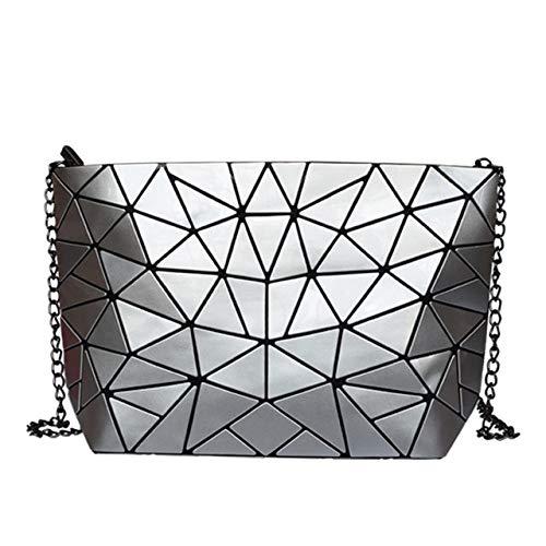 AliExpress 2019 - Mochila de holograma geométrico para mujer, bolso de hombro, bolso de hombro, color plateado Cadena de plata. 28*7.5*18cm