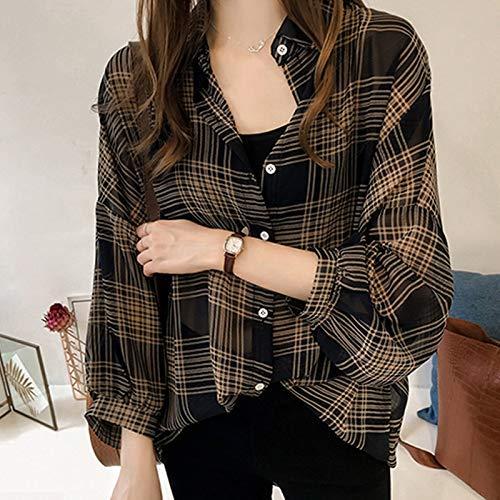 Huaheng 1 Stks Vrouwen Lady Shirt Blouse Lange Mouw Plaid Patroon Casual Losse voor de herfst L Zwart