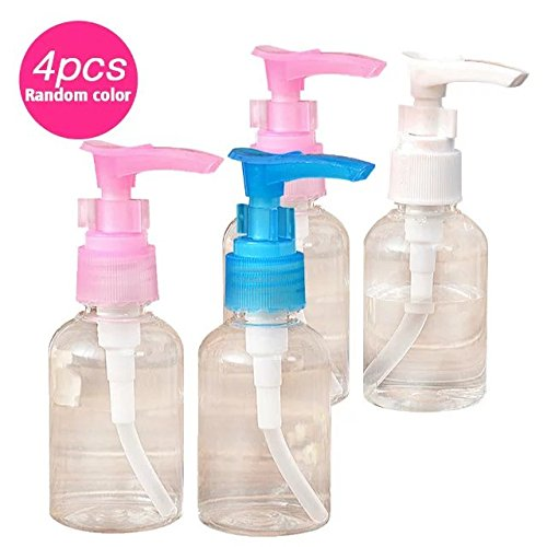 Brendacosmetic Pack of 4 Longh Mouth Pump Bottle Empty Cosmetics Bottle Travel bottle-50Ml for Bottling Emulsion,Shampoo or Body Wash (Randomly Color)