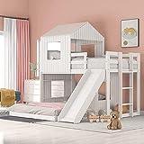 MWKL La más Nueva litera Doble sobre Completa, Cama Tipo Loft de Madera con casita de Juegos con tobogán, Escalera y barandillas para niños/niñas/niños