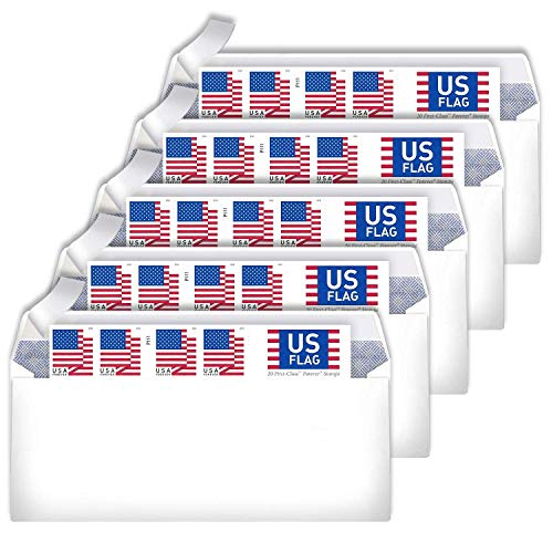 10# Business Envelopes Additional 2018 Postage Stamps (5 Booklet - 100 Stamps)