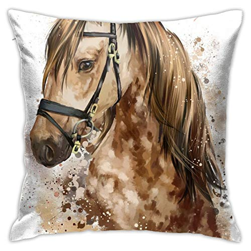 iksrgfvb Pillowcases Cushion Covers decoration Bark Horse Head Watercolor Drawing on the Sofa car bed 45X45 CM