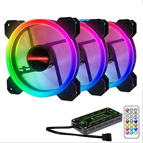 Los aficionados sin piedad Computer, colorido anfitrión RGB ventiladores más frescos con la hoja de control 7 diseño de alerón 8 almohadillas de amortiguación ultra ventilador de doble apertura silenc