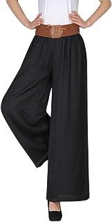 SNOWSONG Women's Plus Size Flare Linen Pants Palazzo High Waist Wide Leg Pants Trousers