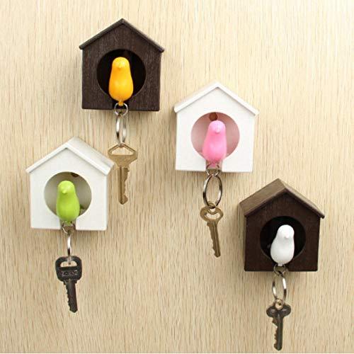 CAISHENY Ganchos Bird N Sparrow House Llavero Anillo Ganchos De Pared Soportes De Llaves Colgador De Llaves Bird Whistle Storage Holders Racks Keys Organizer