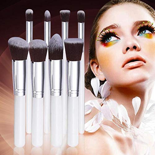 GCY Pinceau de maquillage 8PCS Maquillage Brush Set Nylon Mane Fard À Paupières Eyeliner Eyebrow Blush Foundation Brush-White N Silver