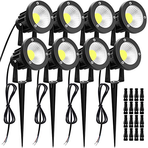 12W LED Landscape Lights with Quick Connectors LUYE 12V 24V Low Voltage Lights 8 Pack Outdoor IP66 Waterproof Garden Pathway Lighting Wall Tree Flag Flood Lights with Stakes Daylight White