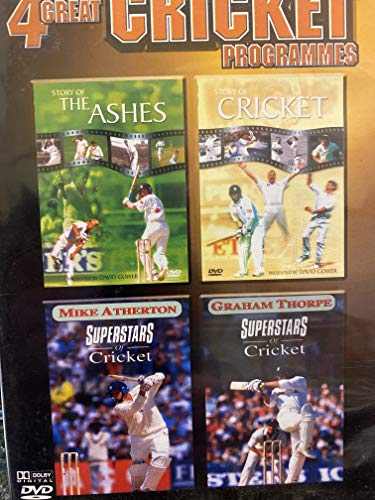 4 GREAT CRICKET PROGRAMMES. 1 THE STORY OF THE ASHES. 2. THE STORY OF CRICKET. 3. SUPERSTARS OF CRICKET MIKE ATHERTON. 4. SUPERSTARS OF CRICKET GRAHAM THORPE.