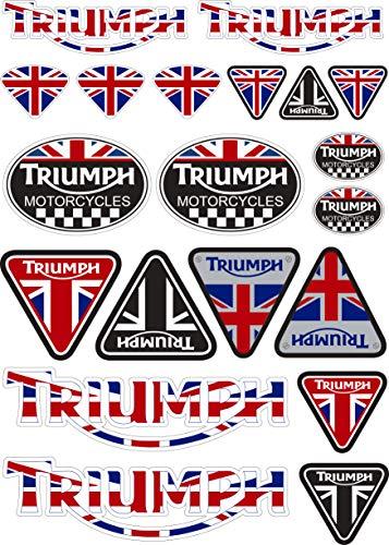 Aufkleber aus Vinyl, kompatibel mit Triumph Motorcycles Digitaldruck, laminiert, gegen UV-Strahlen und Kratzer, Blatt A 4 (20 Stickers)