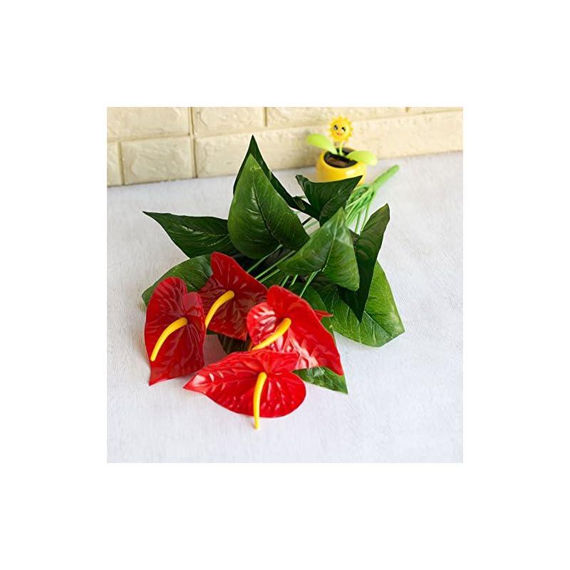 silk flower arrangements grey990 1 bouquet leaves artificial anthurium simulation flower grass plant office home decoration green + red
