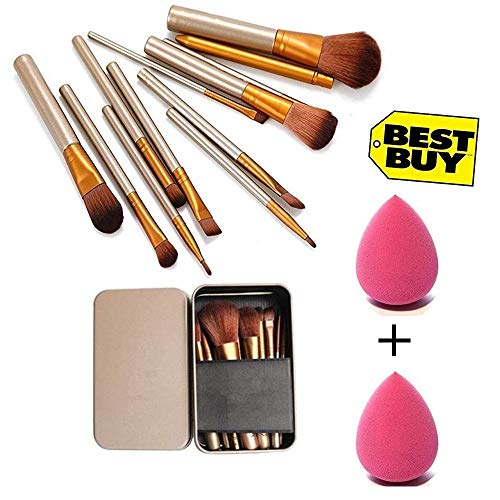 Generic Makeup Brush Set of 12 with storage box + 2 sponge puff (color may vary) 1