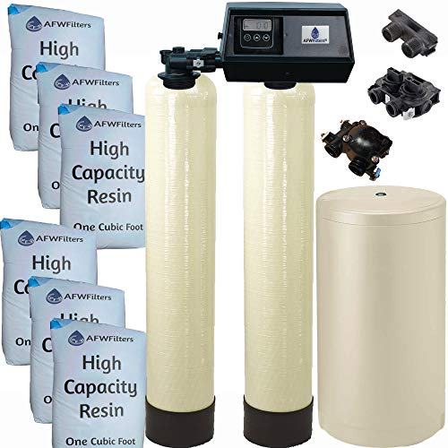 AFWFilters WS-96k-91SXT Fleck 9100SXT Dual tank water softener 96k, 96,000 grain with the digital 9100 sxt valve, almond Or Black