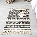 La alfombra Alfombra de borla retro de algodón y lino natural tejida a mano /...